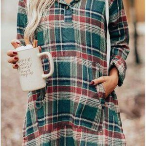 Green Plaid Hooded Button Pocket High-Low Dress